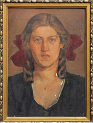 Portret kobiety – stan przed konserwacją.